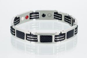 E8194BLS - 4-Elemente Armband silberfarben mit schwarz