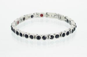 E8513SZ - 4-Elemente Armband silberfarben mit schwarzen Zirkonia