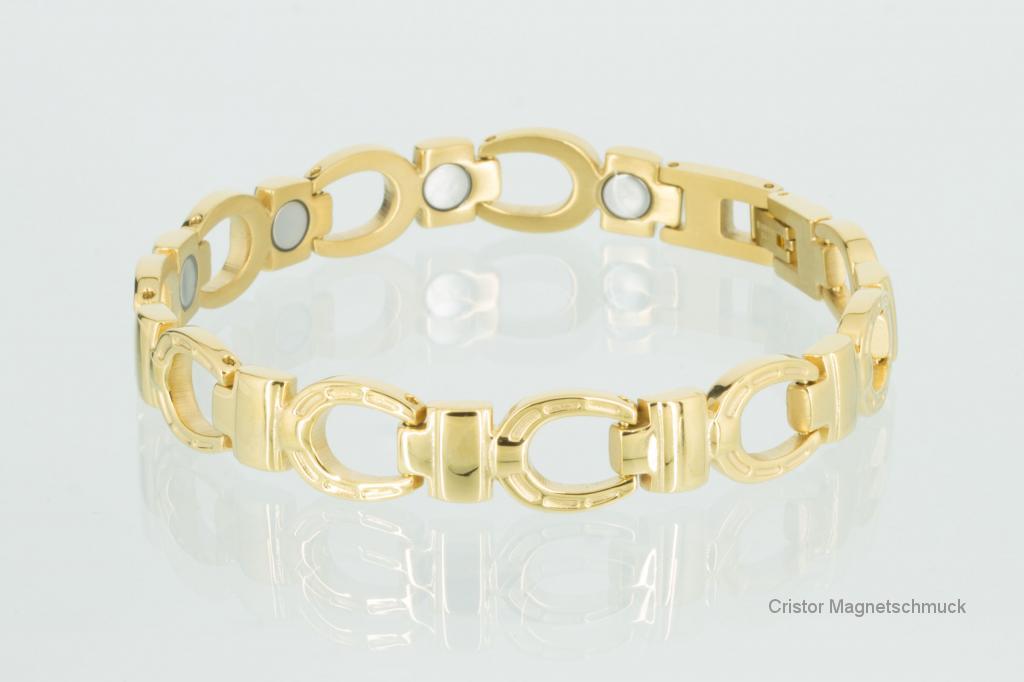 8645G - Magnetarmband goldfarben Hufeisen