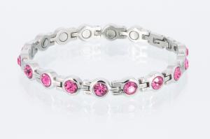 8536SZ - Magnetarmband silberfarben mit pinkfarbenen Zirkoniasteinen