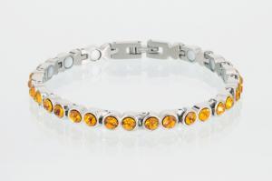 8528SZ - Magnetarmband silberfarben mit bernsteinfarbenen Zirkonia