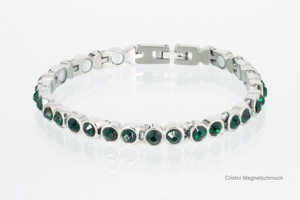 8523SZ - Magnetarmband silberfarben mit dunkelgrünen Zirkonia
