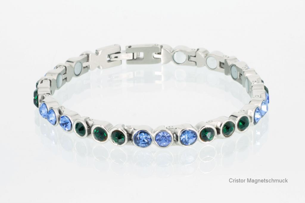 8522SZ - Magnetarmband silberfarben mit blauen und grünen Zirkonia