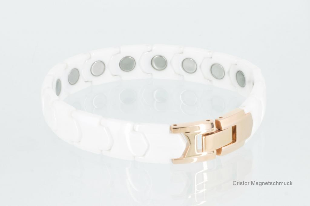 C8065WRG - Ceramik-Magnetarmband weiß rose