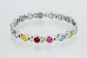 8539SZ - Magnetarmband silberfarben mit 6 verschiedenfarbigen Zirkoniasteinen