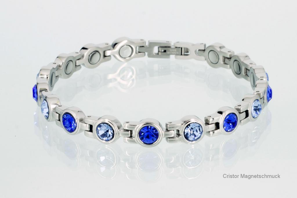 8537SZ - Magnetarmband silberfarben mit blauen Zirkoniasteinen