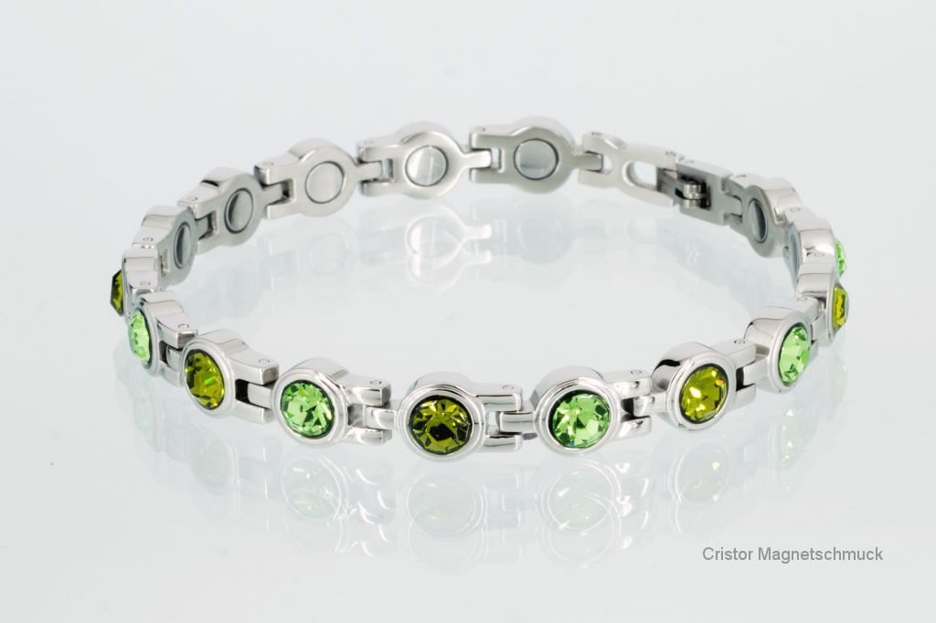 8538SZ - Magnetarmband silberfarben mit grünen Zirkoniasteinen