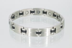 8043BLS - Magnetarmband silber schwarz