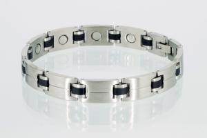 Magnetarmband silber schwarz - 8043bls