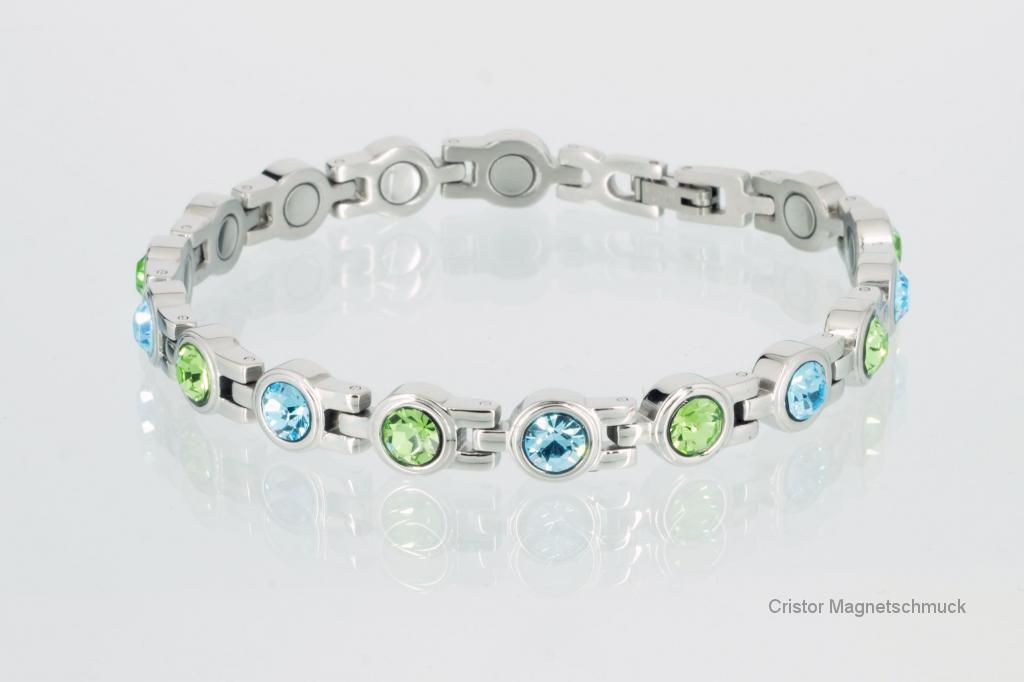 8542SZ - Magnetarmband silberfarben mit aquablauen und peridotgrünen Zirkoniasteinen