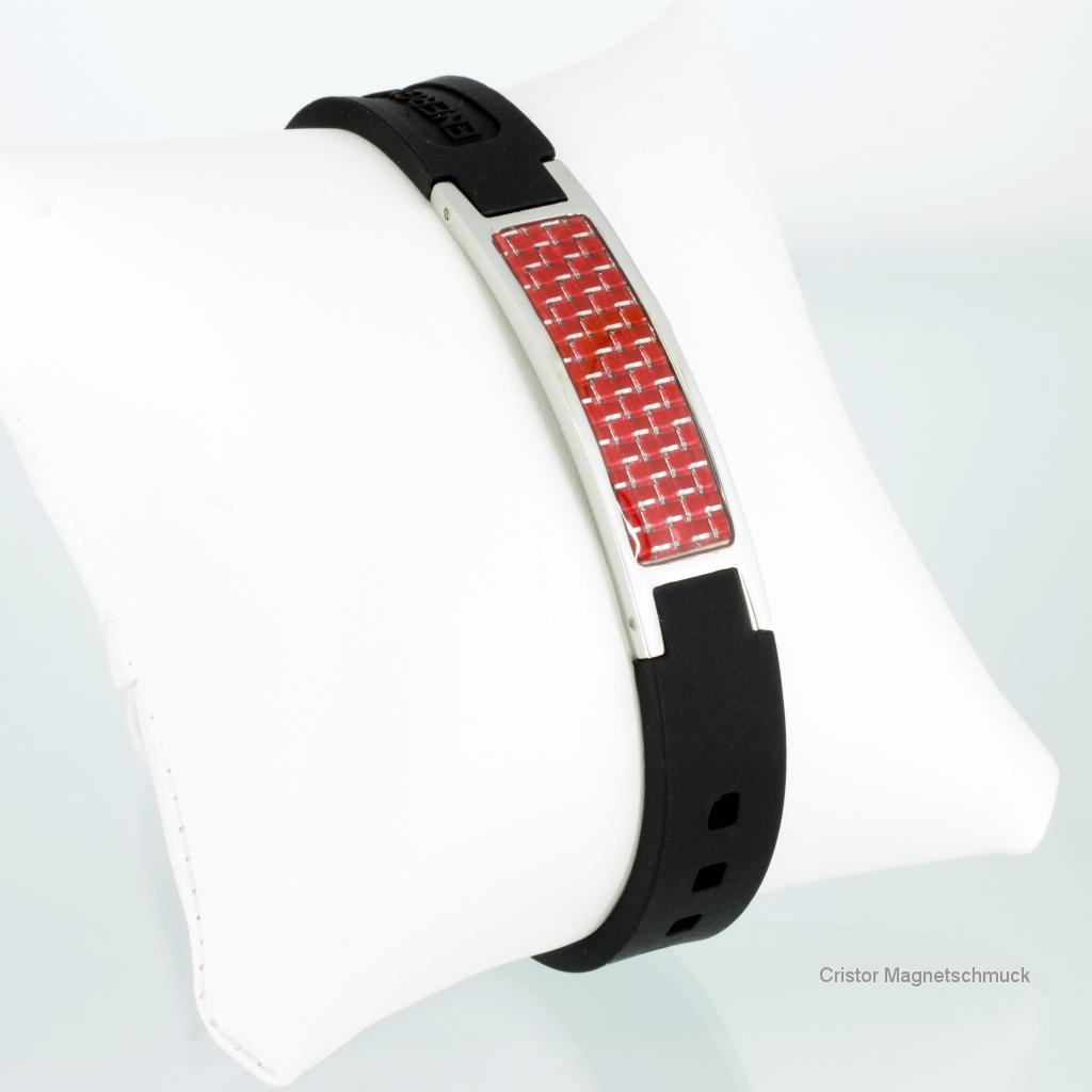 KEBL9055RS - Energiearmband silber schwarz mit roter Carbonfasereinlage