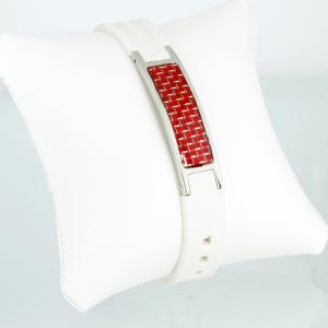 KEW9055RS - Energiearmband silber weiß mit roter Carbonfasereinlage