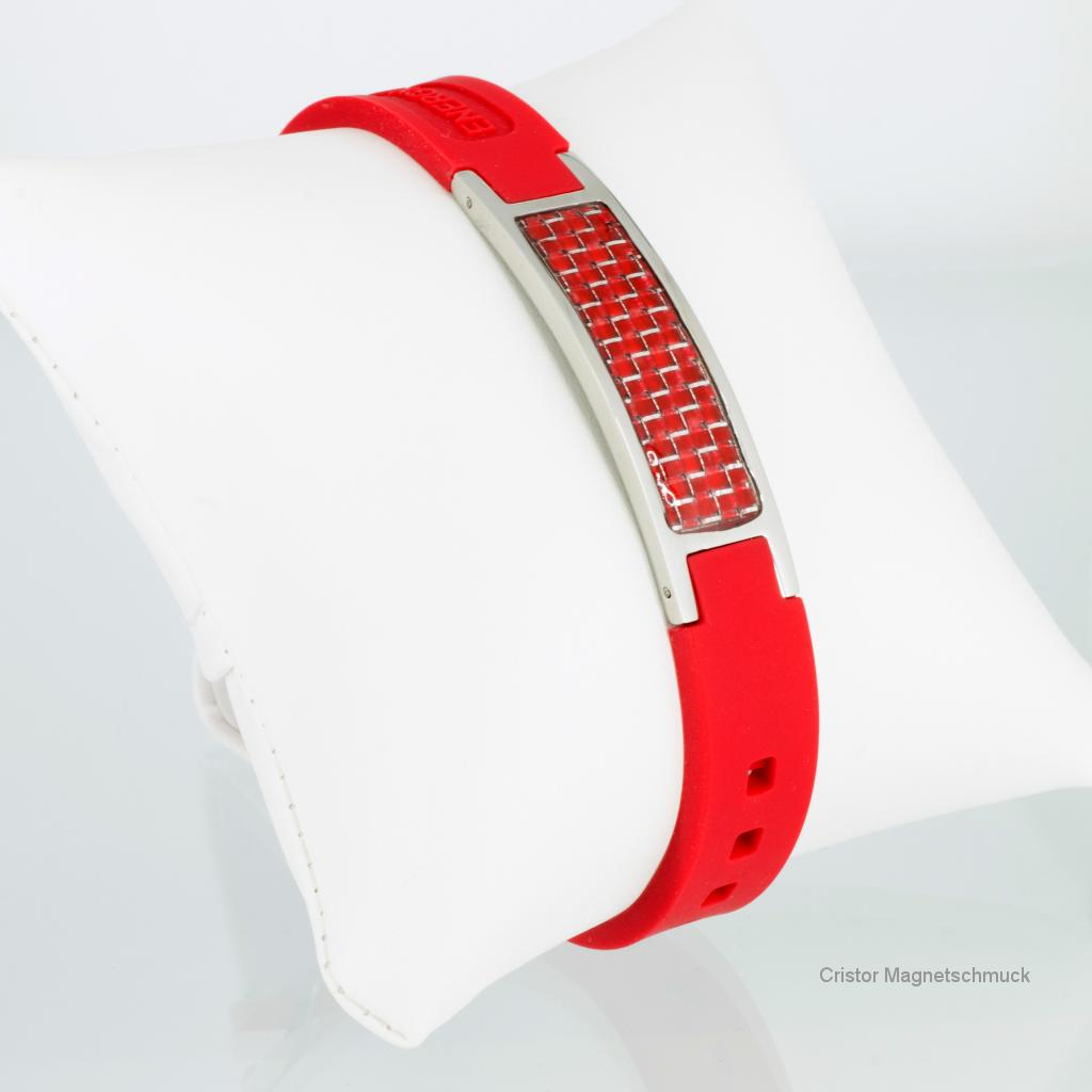 KER9055RS - Energiearmband silber rot mit roter Carbonfasereinlage