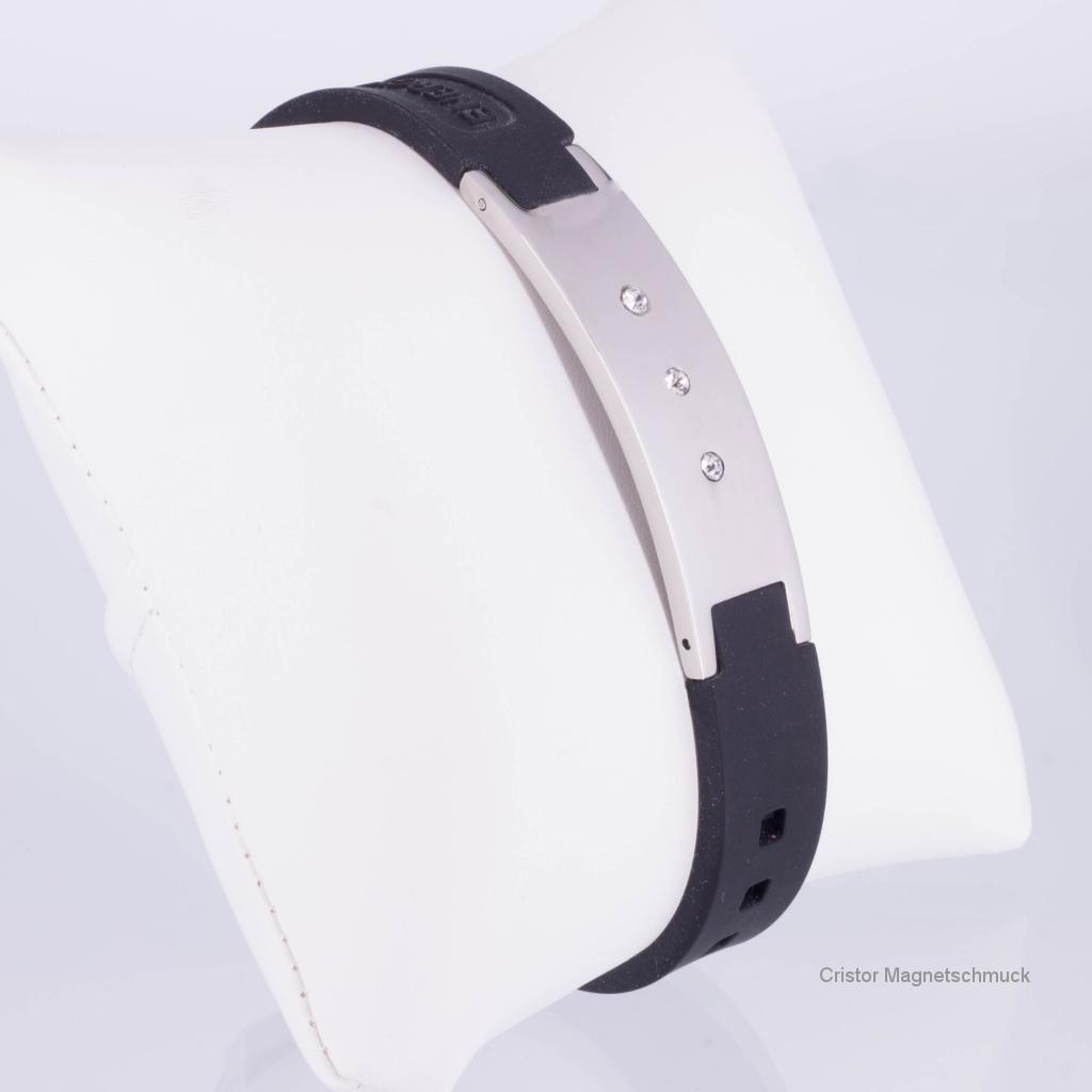 KEBL9010SZ - Energiearmband silber schwarz mit Zirkoniasteinen
