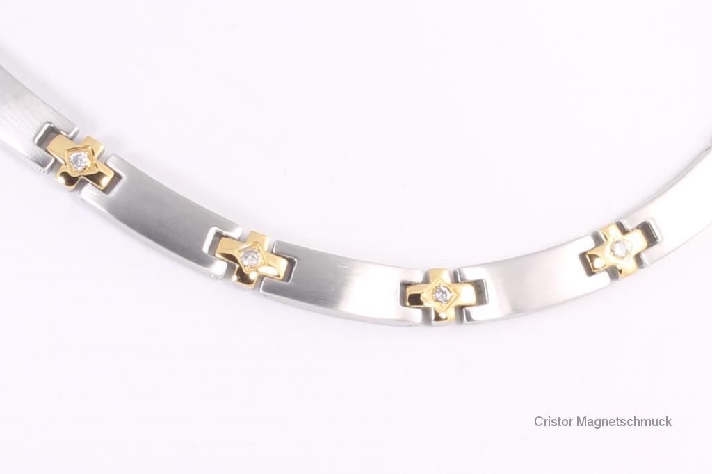 HE9084BZ - 5-Elemente Halskette bicolor mit Zirkonia