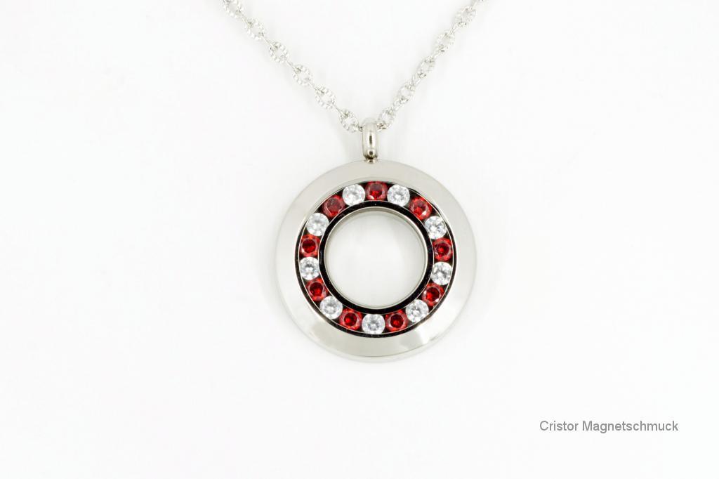 AE1889SZ - Energieanhänger silberfarben mit roten und weißen Zirkonia