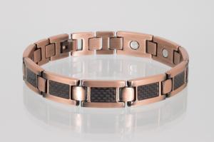 Kupfer - Magnetarmband mit schwarzer Carbonfaser - cu8201bl
