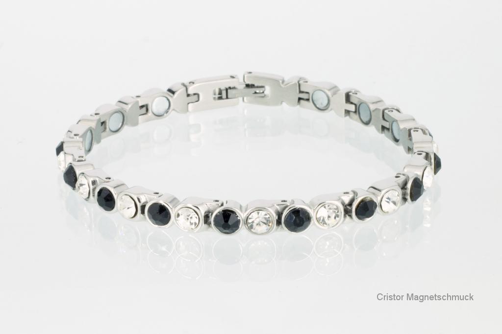 8527SZ - Magnetarmband silberfarben mit schwarzen und weißen Zirkoniasteinen