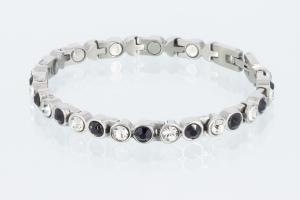 Magnetarmband silberfarben mit schwarzen und weißen Zirkoniasteinen - 8527sz