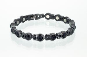 8052BLZ - Magnetarmband schwarz mit schwarzen Zirkoniasteinen