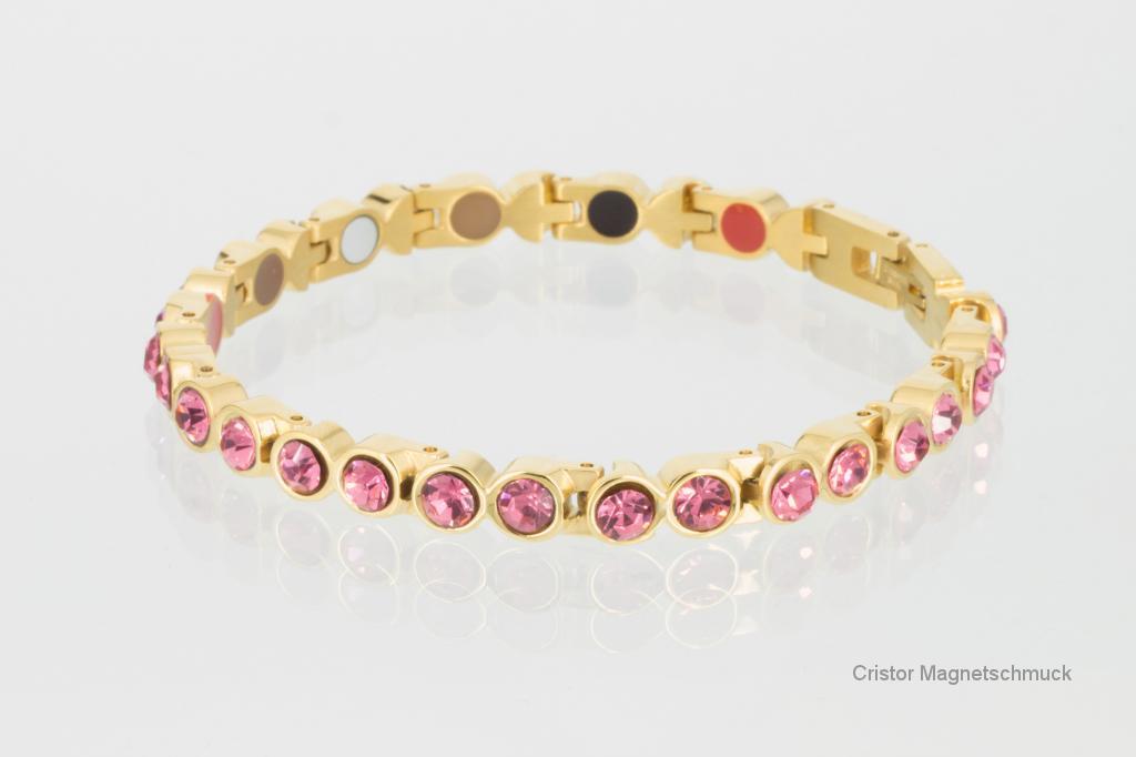 E8519GZ - 5-Elemente Armband goldfarben mit rosefarbenen Zirkonia
