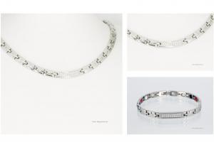 Halskette und Armband im Set silberfarben mit Zirkonia - h9005szset