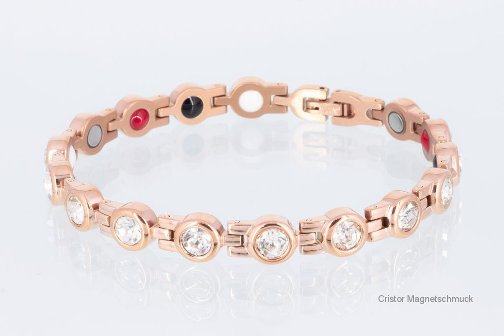 E8530RGZ - 4-Elemente Armband rosegoldfarben mit weißen Zirkonia