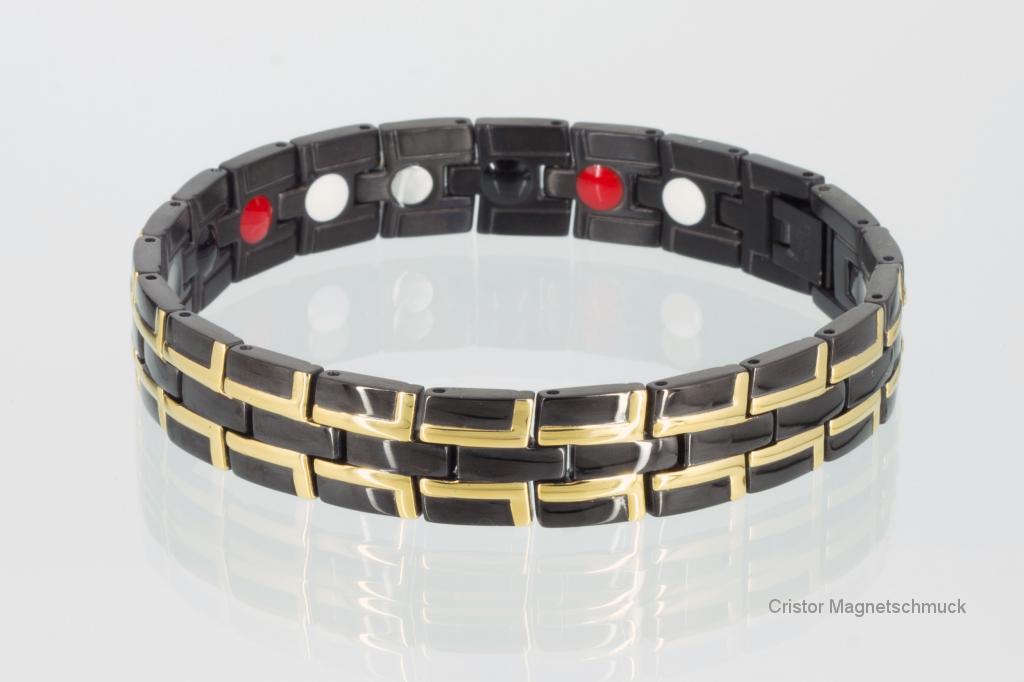 E8035BLG - 4-Elemente Armband gold schwarz