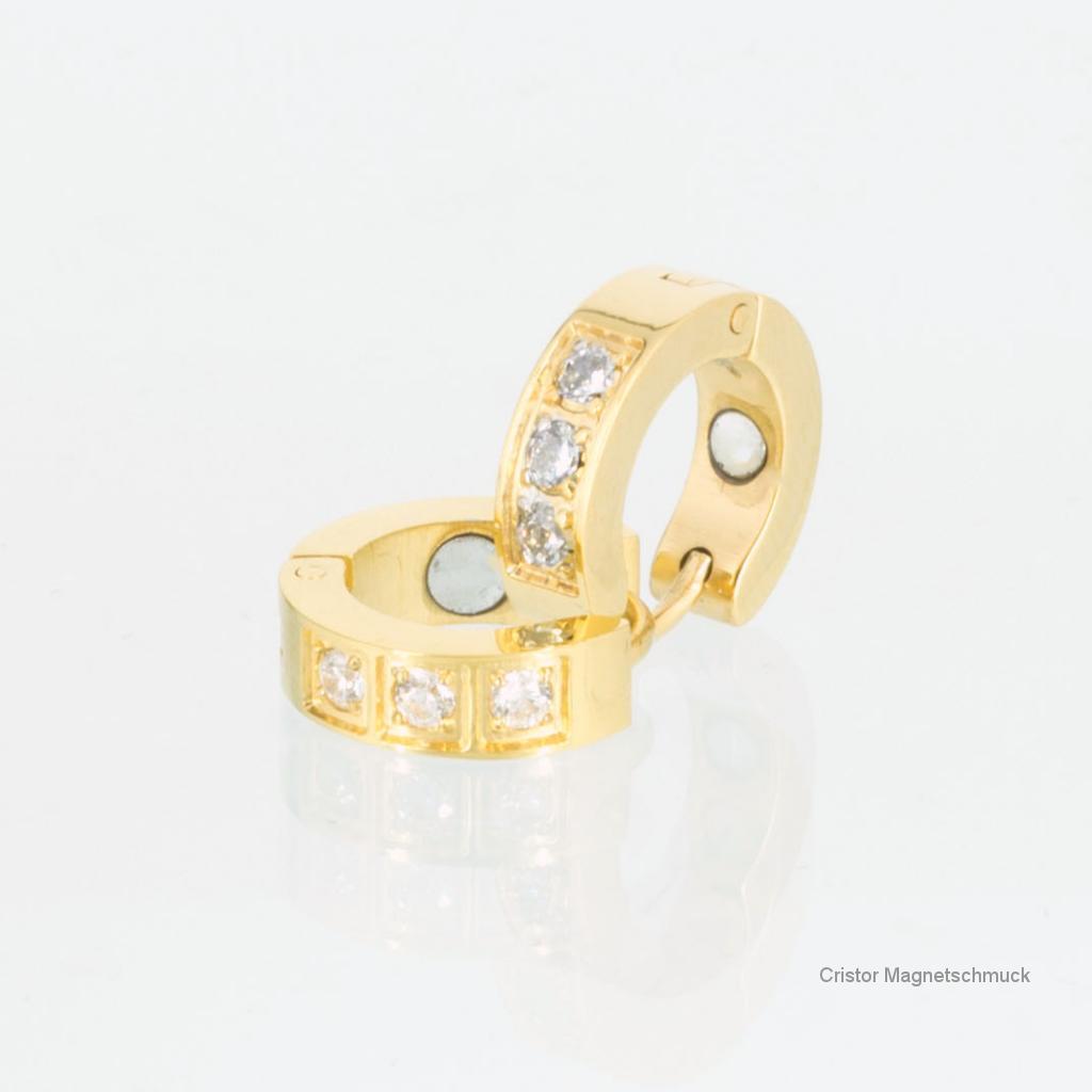 A1162GZbSet2 - Magnetschmuckset goldfarben mit weißen Zirkonia