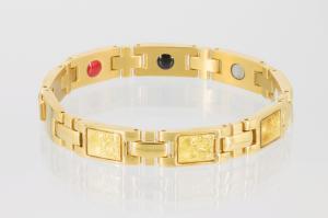 E8301G2 - 4-Elemente Armband goldfarben mit buddhistischen Motiven
