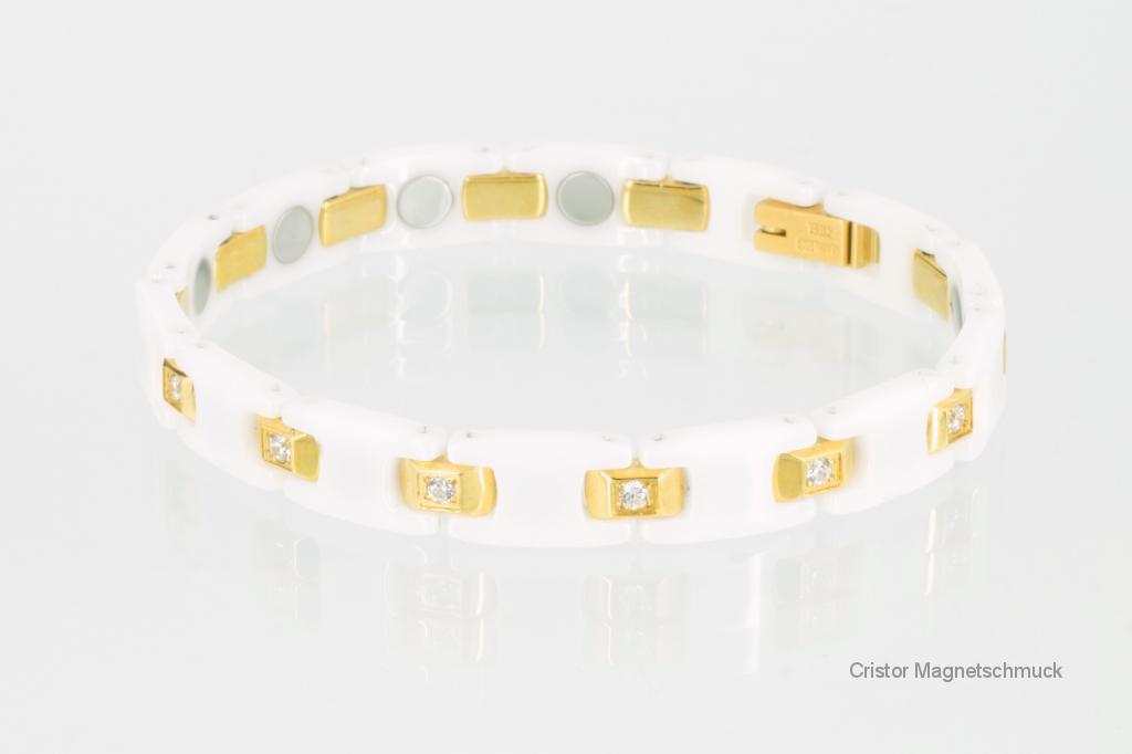 C8094WGZ - Ceramik-Magnetarmband weiß gold mit Zirkonia