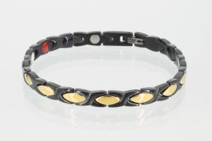 E8011BLG - 4-Elemente Armband schwarz gold