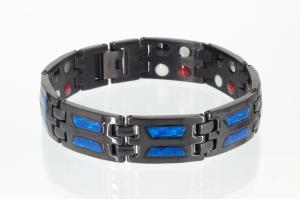 TE8191BLb - Titan-Energiearmband schwarz mit blauer Carbonfasereinlage