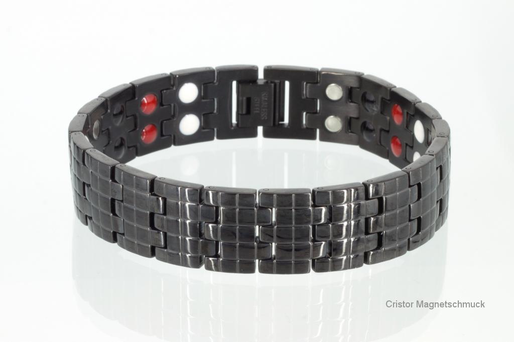 E8114BL2 - 4-Elemente Armband schwarz doppelreihig