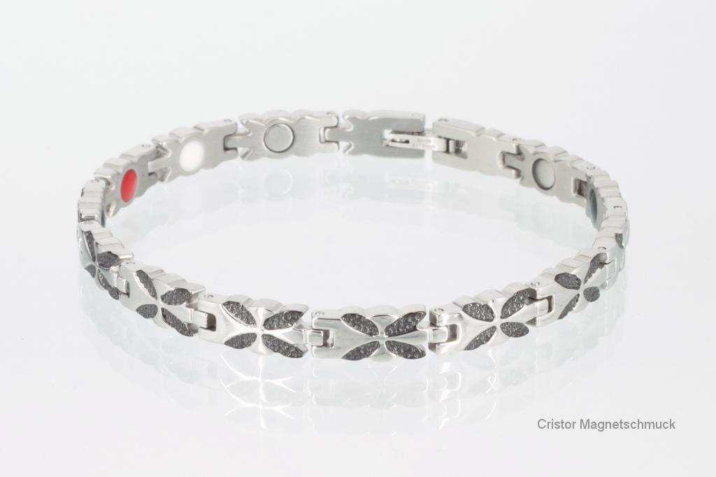 E8110BLS - 4-Elemente Armband schwarz silber