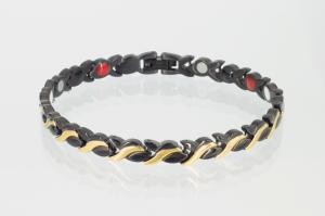 E8333BLG - 4-Elemente Armband schwarz gold