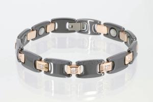 C8112BLRGZ - Ceramik-Magnetarmband rosegold und schwarz mit Zirkonia