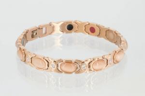 E8077RGZ - 3-Elemente Armband rosegold mit Zirkonia und champagnerfarbenen Einlagen