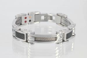 E8117BLS - 3-Elemente Armband silberfarben mit schwarzer Carbonfasereinlage