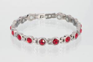 Magnetarmband silberfarben mit roten Zirkoniasteinen - 8126sz