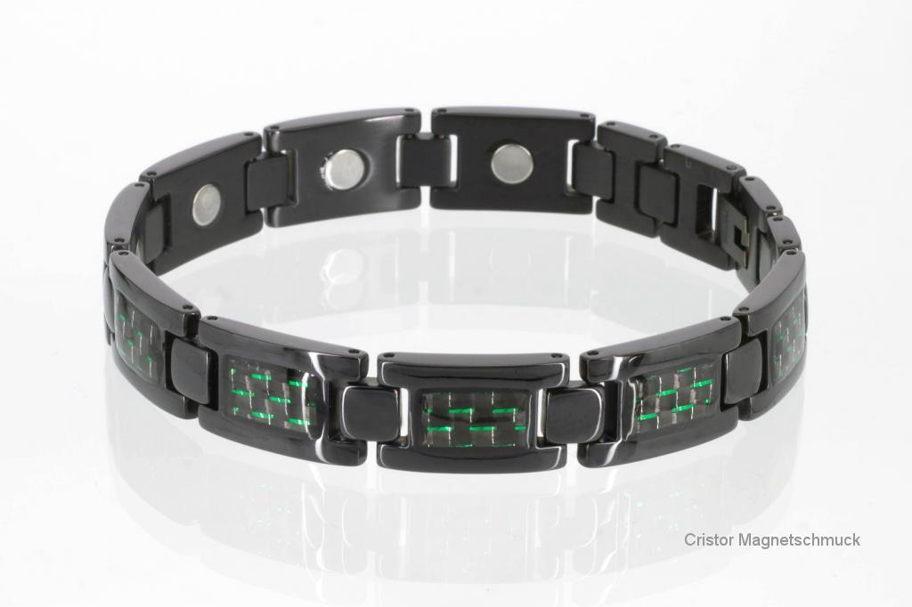T8201BLd - Titanarmband schwarz mit grüner Carbonfasereinlage