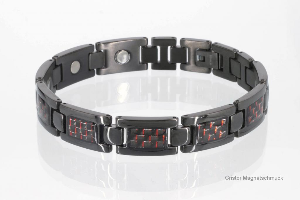 T8201BLe - Titanarmband schwarz mit roter Carbonfasereinlage