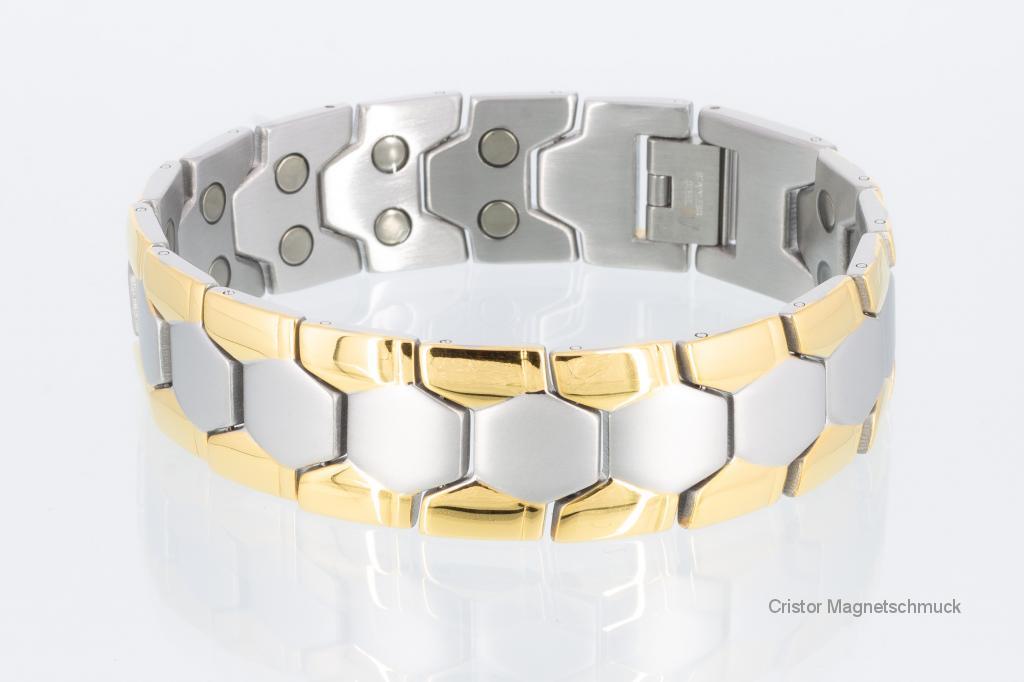 8619B - Doppelreihiges Magnetarmband bicolor