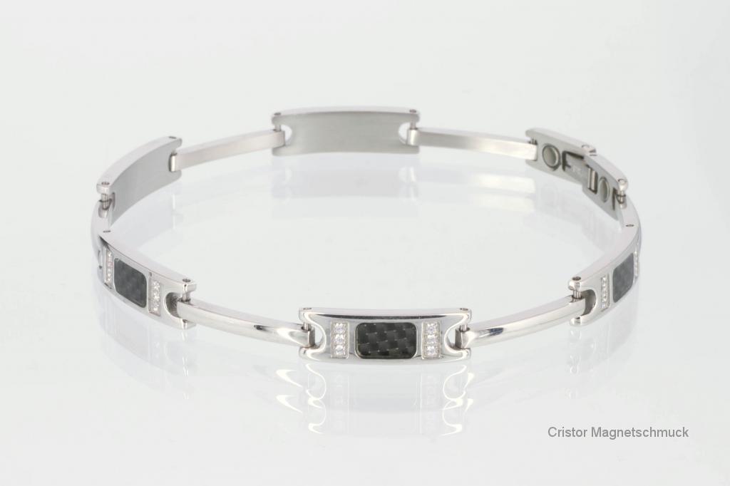 8088BLS - Damen-Armband silberfarben mit Carbonfaser und Zirkonia