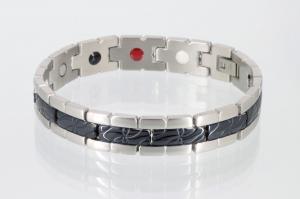 E8131BLS - 4-Elemente Armband schwarz silber