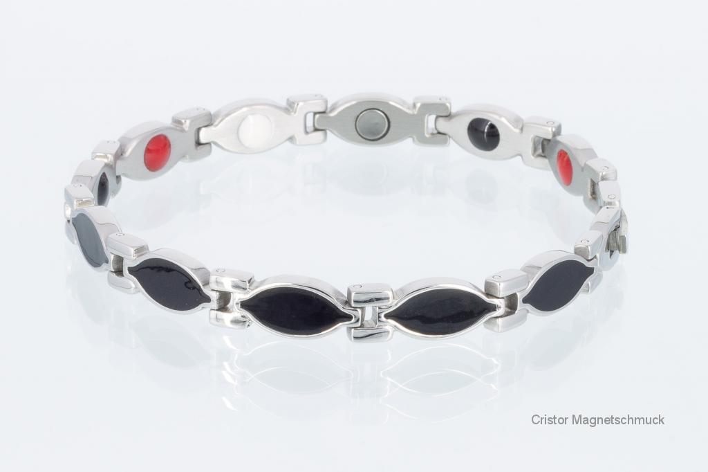 E8134BLS - 4-Elemente Armband schwarz silber