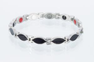 4-Elemente Armband schwarz silber - e8134bls