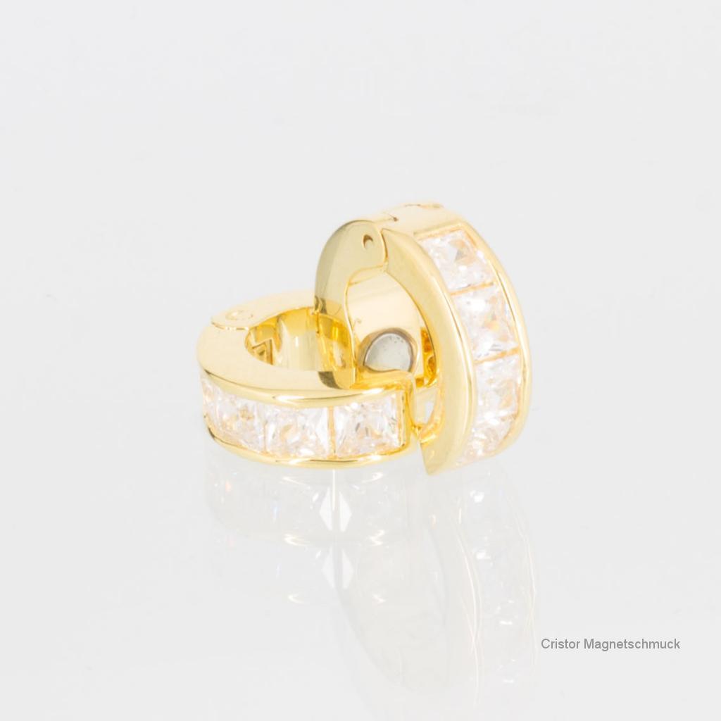 E8160G2ZSet2 - Magnetarmband goldfarben mit Zirkonia