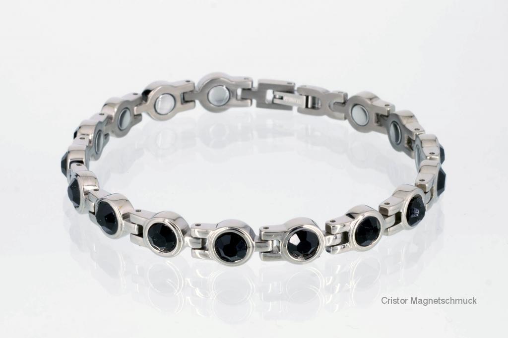 8052SZ - Magnetarmband silberfarben mit schwarzen Zirkonia