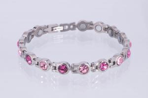 8155SZ - Magnetarmband silberfarben mit hell- und rosefarbenen Zirkoniasteinen
